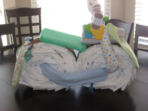 making a diaper cake